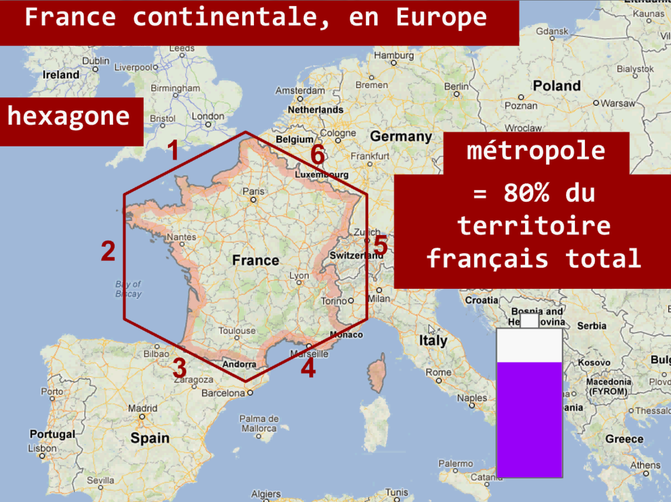 France métropolitaine Hexagone
