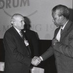Frederik de Klerk et Nelson Mandela au World Economic Forum Annual Meeting de Davos en 1992