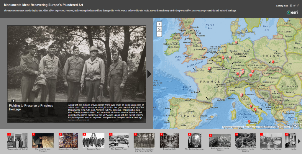 Monuments Men: ESRI story map